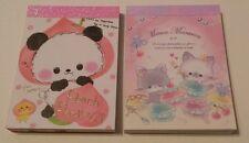 Crux Q-lia Panda Cat Pastel Macarons Kawaii Mini Memo pad Lot Stationery Japan