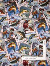 Fish Fishing Fisherman Sport Afield Toss Cotton Fabric Elizabeths Studio By Yard