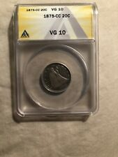 1875-CC Seated Liberty 20 Cent Piece, ANACS VG-10, Better Coin Carson City