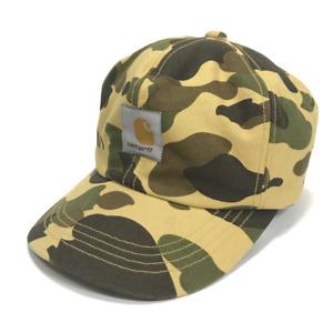 BAPE x CARHARTT 1ST CAMO YELLOW EAR FLAP HAT FALL WINTER DUCK HUNTING CAP