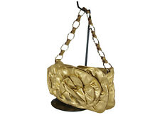 Yves Saint Nadja Leather Gold Shoulder Bag YS17251L