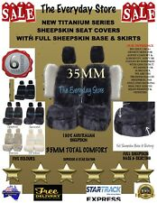 New Titanium Genuine Sheepskin Car Seat Covers Pair All Over Base 35mm Abag Safe