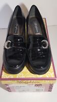 BRIGHTON Women's Shoes Size 7.5 Black Leather Italy MSRP $195 Croc Loafer Heels