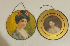 Vintage Flue Covers Pretty Young Women Lot of 2 Lithography Prints Victorian