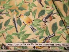 Fruit of the Vine Finches & Chickadees Wild Wings Cotton Fabric 1 Yard