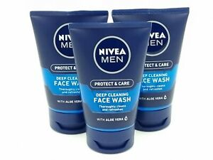 NIVEA MEN Deep Cleansing Face Wash With Aloe Vera 3 X 100 ml FREE UK POSTAGE NEW