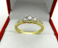 Solid 10k Yellow Gold Natural 3-Stone Diamonds 0.50 tcw Anniversary Ring size 7