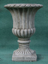 LARGE FLUTED VASE URN Hand Cast Stone Garden Ornament Flower Planter ⧫onefold-uk