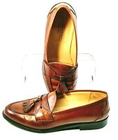 Johnston Murphy Cellini Loafer Men's 9.5M Brown Tassel Dress Shoe 15-4232 Italy