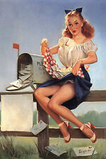 Large Framed Print - Gil Elvgren Classic Vintage Pin Up Checking the Mail (Art)