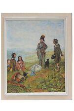 Gendarm mit Bettler und Hund, Motiv um 1800 - Ölgemälde, signiert H.Engel