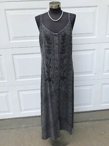 Vintage Mamta Embroidered Rayon India Hippie Festival Maxi Dress One Size