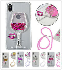 Lips Glitter Bling Wine Cup Liquid Transparent Soft Phone Case Cover & Strap A