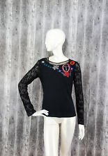 Aventures des Toiles Womens Top Blouse Lace sleeves Black size 42/UK12