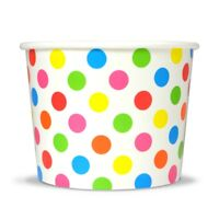 Rainbow Ice Cream Paper Cups - 16 oz Polka Dot Disposable Birthday Party Cups