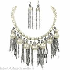 Pearl Statement Necklace Earrings Set Off White Glass Bead Filigree Design