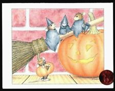 Halloween Card House Mouse Mice Witch Costume Pumpkin - Small Greeting Card NEW