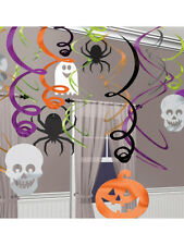 Halloween 30 Piece Pumpkin Skeleton Spider Hanging Swirl Party Decorations