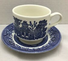 Churchill Staffordshire Georgian Fine English Tableware Blue Willow Cup Saucer