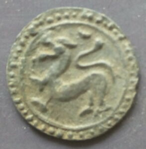 18th circa.--SOUTHEAST ASIA--ANCIENT COIN---TO LEFT, SINGHA(LION)---dia. 22 mm.