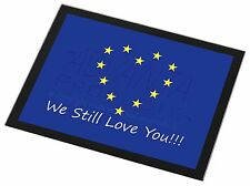 British Brexit, Europe 'We Still Love You' Black Rim Glass Placemat, BRITISH-4GP