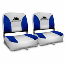 Seamanship BS-86202-GB-40 Folding Swivel Boat Seats 2 Pieces - Grey/Blue