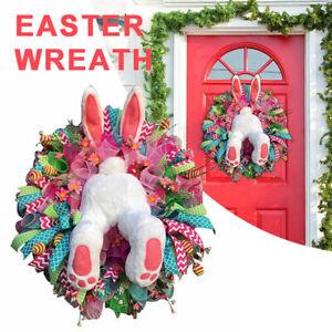 Easter Rabbit Wreath Decor Bunny Butt & Ears Garland for Home Front Door tool ol
