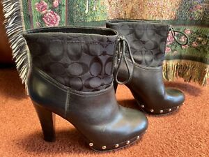 COACH Women's Black Leather Bootie Heels Lace-Up  Monogram Cuff Size 9.5