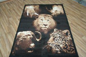 Quality Lion Rhino Cheetah Rug 120cm x 170cm Jungle Safari Animal Print (182)