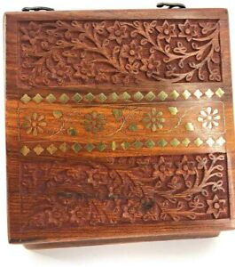 Wooden Spice Box-7 Containers- Carved and Crafted Sheesham Wood