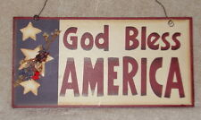 GOD BLESS AMERICA Patriotic Wooden Sign Plaque Wall Hanging  NWOT