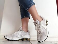 Nike + Plus Shox (IPOD COMPATIBLE) 315331-111 Womens Size 8 White Gold Shoes ~