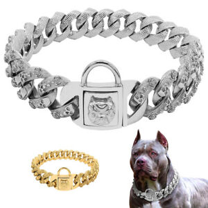 Gold Dog Chain Collar W/ Skull Accessory Heavy Duty Stainless Steel for PITBULL