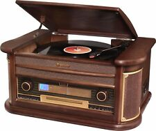 Roadstar HIF-1996BT Wood Retro FM-Radio,Turntable, Cassette, CD Player,Bluetooth
