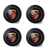 New Genuine Porsche 911 'Fuchs' Black Gold Crest Wheel Caps 4x Set SOW91103811