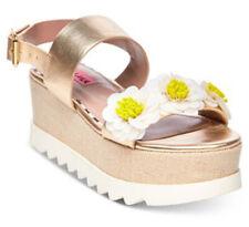 Nib Betsey Johnson Womens Pipper Open Toe Slingback Sandals, Gold, Size 7.5