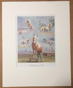 "Vintage Wesley Dennis Horse Print in 16x20 Mat: ""The Chincoteague Pony"", EUC"