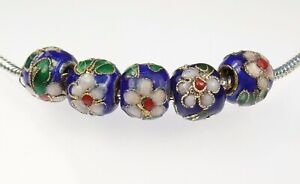 10 Blue Cloisonné Hand Painted Beads for all European style Charm Bracelets