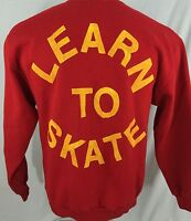 Learn To Skate Red Crew Neck Sweatshirt 50/50 L Large Jerzees Made In USA