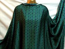 *NEW*Soft Smooth Liquid Satin Green / Dark Navy Geometric Print Fabric*FREE P&P*