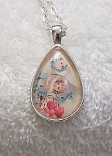 NEW NECKLACE ANGEL DOVW TEARDROP SHAPED PENDANT 24 INCH CHAIN HEARTS SKY H VL-AO