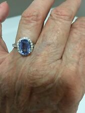 Ceylon blue sapphire & diamond ring, 14k wg, 2.63 carat weight, size 6.5