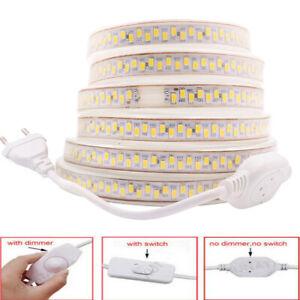 220V High Bright 5630 LED Strip Waterproof Flexible Tape Rope Light with EU Plug
