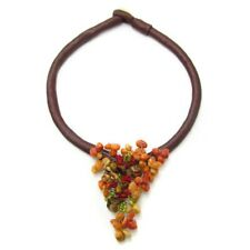 Apple Corals and Tiger's Eye Triangle Statement Necklace