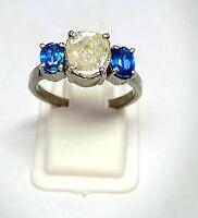 Handmade Victorian 925 Sterling Silver Kyanite Gemstone Vintage Diamond Ring 09