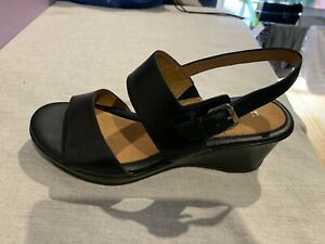 Naturalizer Black Leather Heel Wedges Size 7.5