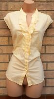 FLORENCE FRED LIGHT YELLOW FRILL BUTTONED V NECK SHORT SLEEVE T SHIRT TOP 14 L