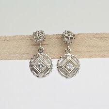 Pair of Filigree 14K White Gold & Diamond Screw Back Earrings - VR