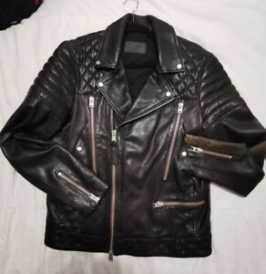 All Saints Brando Leather Jacket RRP£355 Biker Brando Rocker Punk Leather Jacket