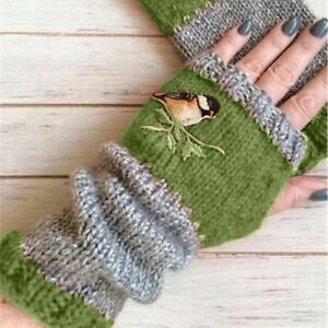 Women Cotton Gloves Embroidery Birds Finger Less Knitted Block Splice Mittens